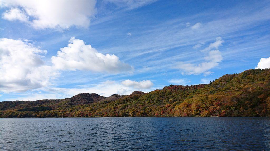 大沼湖上ボートからの湖畔風景